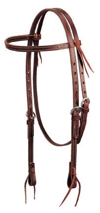 Deluxe Latigo Leather Browband Headstall, Burgundy picture