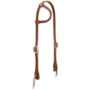 Hand Tooled Flat Sliding Ear Headstall with Heart Border picture