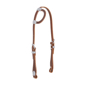 Hand Tooled Flat Sliding Ear Headstall with Sunburst Border, Brown picture