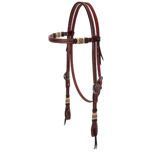 Basketweave Bridle Leather Browband Headstall with Rawhide Accents, Black Buttons picture