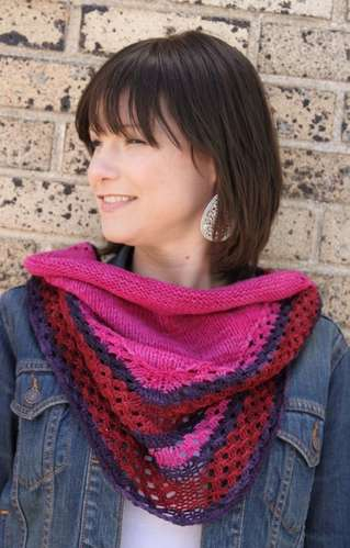 Pretty  In Pink Knit Shawlette Pattern picture