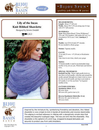 Lily of the Incas Knit Ribbed Shawlette Kit picture
