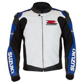 GSX-R Leather Jacket, Blue/White