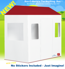 "Box-O-Mania's ""The Anything"" Box™ Junior Play Box Kit (in Lunar White with Apple Red™ Roof)"