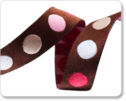 """5/8""""-Brown/Pink Dots picture"""