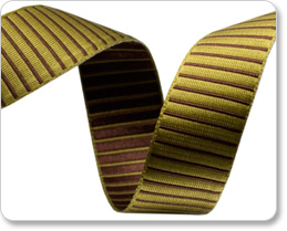 "5/8""-Lime/Brown Reversible Satin Stripes picture"