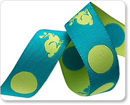 """5/8"""" Lime on Turquoise Bunnies & Dots - Tula Pink picture"""