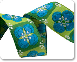 """7/8"""" Blue on Green Floral Tiles - By Laura Foster Nicholson picture"""