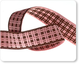 """5/8""""-Pink on Brown Plaid picture"""