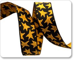 "5/8"" Gold Stars on Black - Luella Doss picture"