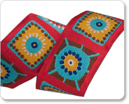 """1-1/2"""" Multi on Red Fun Square by Laura Foster Nicholson picture"""