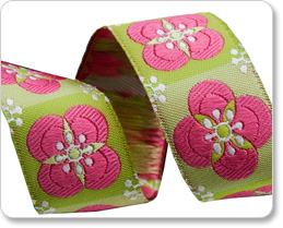 """7/8"""" Pink on Green Floral Tiles - By Laura Foster Nicholson picture"""
