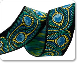 "7/8"" Blue/Green Peacock RK Ribbons picture"