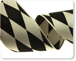 """1-1/2""""- Harlequin in Black/Ivory picture"""