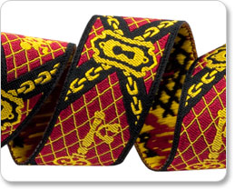 """7/8"""" Red/Gold Keys by RK Ribbons picture"""