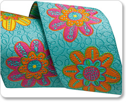 "1-1/2"" Flowers on Turquoise - Sue Spargo picture"