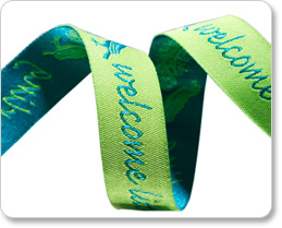 "5/8""-Turquoise On Lime Welcome Little Darling picture"