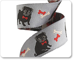 "7/8"" Black pug on grey by Jessica Jones picture"