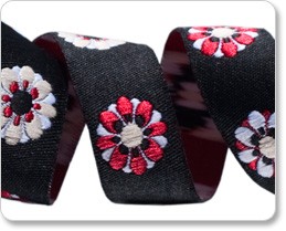 "5/8""-Black/Red Flowers picture"