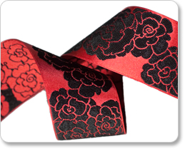 "1-1/2"" Black Roses on Red satin-By Laura Foster Nicholson picture"
