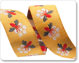 "5/8"" Gray & Red on Gold Bees - Bonnie Christine picture"