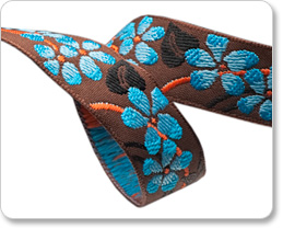 """5/8""""-Blue Flower On Brown picture"""