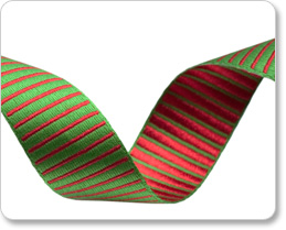 """5/8""""-Green/Red Reversible Satin Stripes picture"""