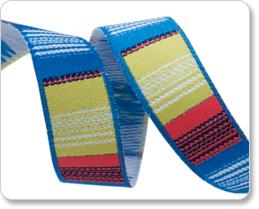 """5/8""""- Blue/Coral/Pistachio Vertical Stripes picture"""