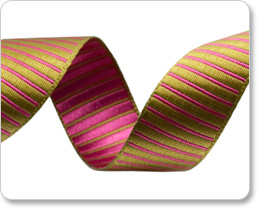 "5/8""-Lime/Pink Reversible Satin Stripes picture"