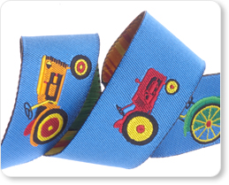 "7/8"" Tractor in Blue/Red/Yellow - By Laura Foster Nicholson picture"