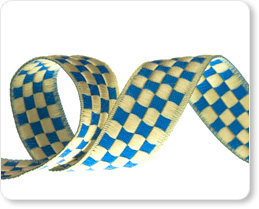 "5/8""-Cream On French Blue Checkerboard picture"