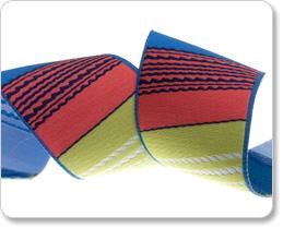 """1-1/2""""- Blue/Coral/Pistachio Vertical Stripes picture"""