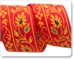 "1-1/4""  Vintage French Ribbon-Orange India Garland Flowers picture"