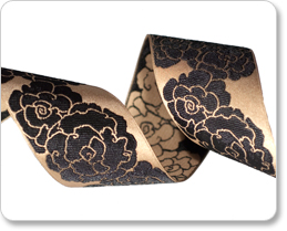 """1-1/2"""" Black Roses on Gold satin -By Laura Foster Nicholson picture"""