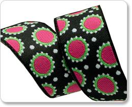 "7/8"" Black & Hot Pink Dotty Dots - Jane Sassaman picture"