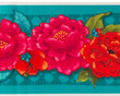 "Red Peonies onTurquoise 5"" wide - Printed Velvet Border- additional picture 1"