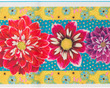 "Dahlias on Turquoise  2 3/4"" wide additional picture 1"