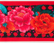 "Red Peonies on Black 5"" wide - Printed Velvet Border additional picture 1"