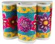 """Wide Dahlias on Turquoise 6.5"""" wide additional picture 1"""
