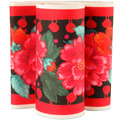 "Red Peonies on Black 5"" wide - Printed Velvet Border"