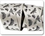 "7/8"" Black on Cream Satin Toile - Moths -By Laura Foster Nicholson"
