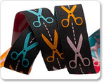 "7/8"" Scissors Multi-Color on Black"