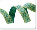 "3/8"" Mini Scrolls Teal & Lime Reversible by Nancy Zieman"