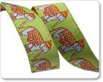 "5/8"" Elephant Caravan on Green - Dena Designs"