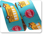 "7/8"" Yellow School Bus on Turquoise"