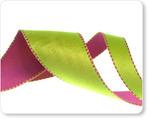 "1"" Reversible Satin ribbon- Pink & Green"