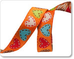 "3/8"" Orange Happy Hearts - Dena Designs"