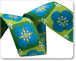 "7/8"" Blue on Green Floral Tiles - By Laura Foster Nicholson"