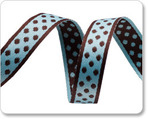 "1/2""Polka Dots - Aqua/Brown"