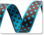 "3/4""Polka Dots - Turquoise/Brown"